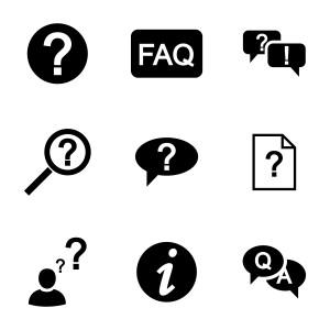 Vector black FAQ icons set on white background